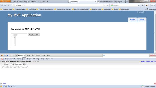 Using jQuery in ASP NET applications – part 2 MVC | Bart De