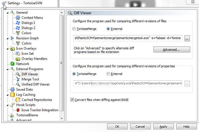 Semanticmerge diff viewer settings for SVN | Bart De Meyer